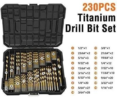 EnerTwist Titanium Drill Bit Kit Set for Metal