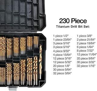 Titanium Drill Bit Set for Metal – 230pc Kit